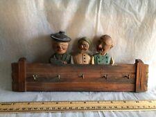 Vintage Anri Wood Carved 5 Hook Key Rack 3 People Figures