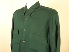 IOU Button Up Shirt Size S Small Long Sleeve Green Rayon Vintage