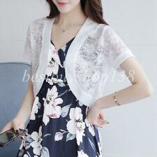 Lace Sheer Mesh Short Sleeve Bolero Shrug Dress Layering Vest Crop Cardigan