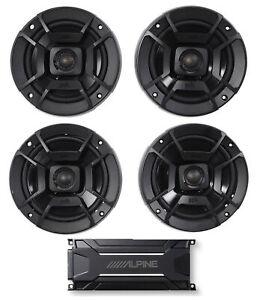 """ALPINE KTA-30FW 600 Watt 4-Channel Amplifier Amp+Polk Audio 6.5""""+5.25"""" Speakers"""