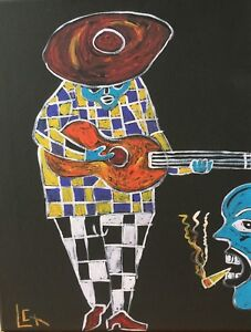 African American Folk Art Painting by Leon Collins Giclee Reproduction
