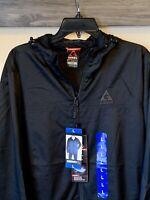 GERRY Soft Shell Lined Men's Black Windbreaker Full Zip Hooded Jacket Size L NWT