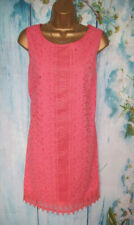 NEW GEORGE DRESS SIZE 14, Coral pink Embroidery cutwork summer shift Dress
