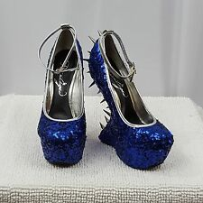 Women's Privileged Blue Dragon Scale Spiked Heel Less Wedge Platform 7""