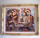"""Oleg Zhivetin, """"At the Table"""" Framed Embellished Mixed Media 1/20 AP on Canvas"""