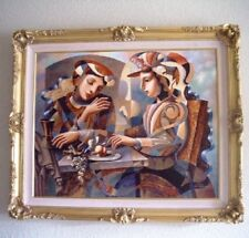 """Oleg Zhivetin, """"At the Table"""" Framed Embellished Mixed Media on Canvas 30.5 X 36"""