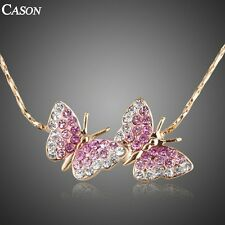 Pink Butterfly Chain Necklace Austrian Crystal Women 18k Gold Plated Jewelry