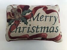 "Vintage Tapestry ""Merry Christmas"" Throw/Toss Pillow W/Metallic Gold & Burgundy"