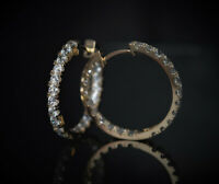 Created Diamond Inside Out Round Huggie Hoop Earrings 14K Yellow Gold 3.00Ct
