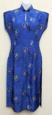 New listing Vintage Rare Paradise Hawaii Long Silk Blue Cheongsam Qipao Dress 1950s Xlnt