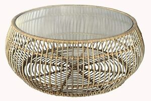 Handmade Woven Natural Rattan Unique Round Coffee Side Table with Glass Top 97cm