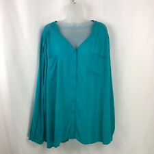 Torrid Womens Shirt Plus Size 4 Blue Teal Cinch Back Lacy Peasant Blouse