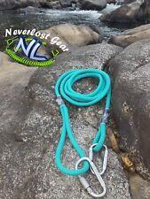 Kayak Drag Rope Tow Rope Neverlost Gear Teal 8ft w/ 2 Locking Carabiners