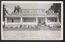 POSTCARD NILES/WARREN OHIO  MA PERKINS FRIED CHICKEN RESTAURANT 1940'S