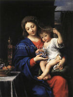 ITALIAN MIGNARD PIERRE THE VIRGIN OF THE GRAPES ARTIST PAINTING REPRODUCTION OIL