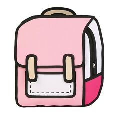 Back to school ! 3D Jump Style 2D Drawing From Cartoon Paper Comic School Bag HM