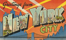 """Large Letter Postcard,""""Greetings From New York City"""",Linen,Used,1945"""
