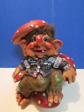 "MUSHROOM KING - 5 1/2"""" Nord Suvenir Norwegian Forest Troll - Rare"