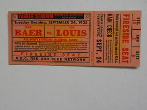 JOE LOUIS vs MAX BAER Boxing Ticket 1935 N.B.C. Red And Blue Network Fight Boxer