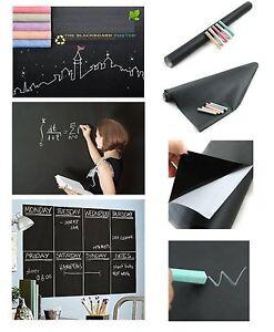 "PEEL & STICK BLACKBOARD STICKER 17""x78"" +5 Chalks Vinyl Dorm College Chalkboard"