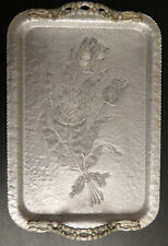 """New listing Vintage Hand Wrought Rodney Kent Hammered Aluminum 16"""" Tulip Tray 408"""