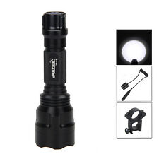 Tactical 5000LM T6 WHITE LED Flashlight Torch Lamp Rifle+25mm Mount 18650 Light