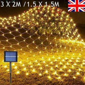 Solar Powered Net Mesh LED String Fairy Lights Lamp Garden Outdoor Wedding Party