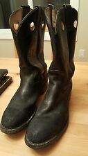 Steel Toe Work Cowboy Boots Leather Mens Size 8 3E Black Buffalo Sole CSA appr