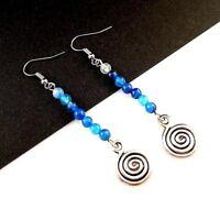 1 Natural Pair of Blue Agate Gemstone Tibetan Style Dangle Earrings - # 219