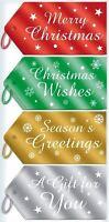40 Christmas Foil Luggage Tags Label Decor Gift Present Shiny Metallic Thread