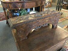 Antique Hand Carved Oak European Tudor Architectural Wall Shelf