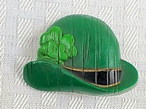 Vtg Hallmark Irish Derby Hat Pin Brooch St. Patrick's Day Leprechaun Shamrock