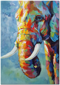 60x40cm Hand Painted Colorful Impressionist Elephant Oil Painting On Canvas