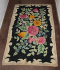 """Antique 30s American Hook Rug Botanical Floral Beauty Black 45 x 27"""" Pink Yellow"""