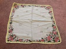 Collectible Handkerchief  Rhinestones Butterflies Pink Roses Gold Trim 9.5 Inch