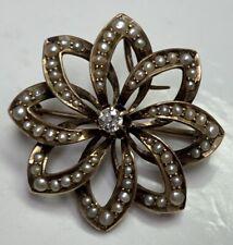 Starburst Pin Brooch 4.4 Gr F114 Antique Victorian 14k Gold Seed Pearl Diamond