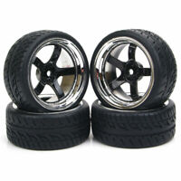 4Pcs 1/10 Rubber Flat Tire Wheel Rims 12mm Hex For HSP HPI RC On-Road Racing Car
