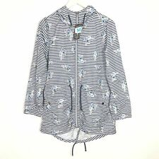 Ladies Parka In A Pocket Coat Jacket Size 10-12 Blue White Striped Hooded