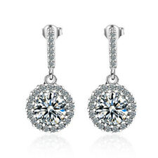 Charm Solid 925 Sterling Silver Shiny Cubic Zirconia Round Stud Drop Earrings