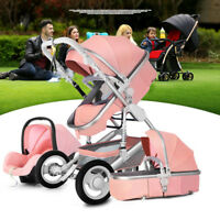 Baby Stroller 3 in 1 Pushchair & Car Seat High Landscape Foldable Pram Strollers