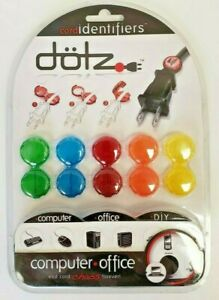 Dotz Colored Cord Identifiers Computer Office Label Icons DCI202CO NEW Free Ship