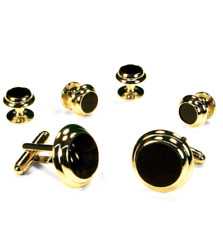 Black Circular Onyx Double Edge Gold Concentric Circles Studs and Cufflinks