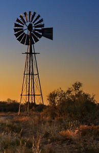 AUSTRALIA  WINDMILL OUTBACK  CANVAS art PHOTO PRINT BUSH SUNSET