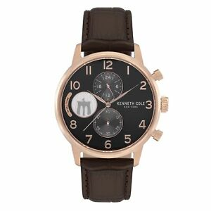 Kenneth Cole New York Men's Stainless Steel & Brown Leather Watch KC51019024