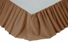 SOLID KHAKI TWIN Bedskirt Dust Ruffle Rustic Primitive Tan Tea Stain Bed Skirt
