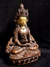 RARE OLD AMITAYUS SEATED BUDDHA FIGURE BRONZE TIBET CHINA STATUE BASE TURQUOISE