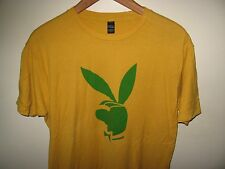 Playboy Bunny Tee - Swag Sunglasses Goggles Mustard Yellow & Green T Shirt Large
