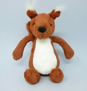 """Jellycat Small Bashful red brown white Squirrel soft toy comforter beanie 8"""""""