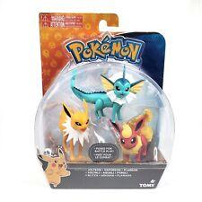 Pokemon Vaporeon Jolteon Flareon Mini Figure 3 Pack Tomy Posed For Battle New
