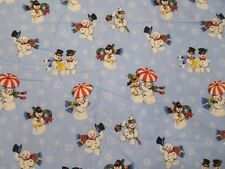 "3 Yds 23"" Vintage Christmas Snowmen Flannel Fabric Blue Background Retro Holiday"